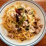 鶏肉とパクチーの出汁風味パスタ